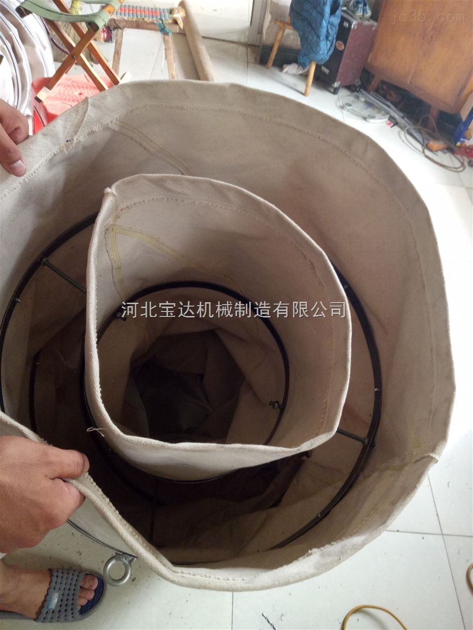 下料口专用内外袋一体耐磨帆布伸缩布袋